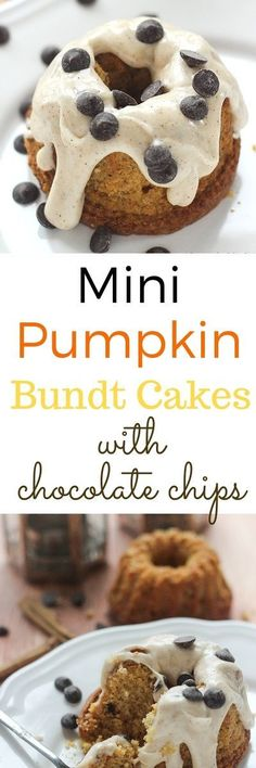 Mini Pumpkin Bundt Cakes with chocolate chips, and frosted with rich creamy cinnamon frosting made with cream cheese! http://www.flavoursandfrosting.com/mini-pumpkin-bundt-cakes-with-chocolate-chips/