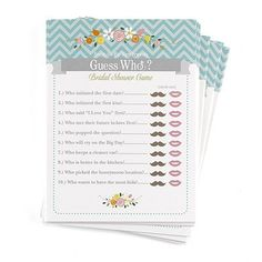 This Bridal Shower Game Will Generate Laughs! Guess Who? Your bridal shower guests answer 10 fun questions about the bride and groom. Of course, the bride Bridal Shower Bingo, Wedding Shower Games, Wedding Games, Bridal Shower Favors, Wedding Venues, Bridal Showers, Baby Shower, Wedding Coordinator, Plan Your Wedding