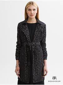BR Monogram lace belted trench
