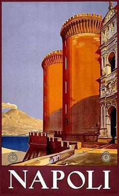 Vintage Napoli Italian Travel Poster