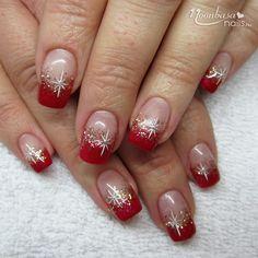 French Manicure Acrylic Nails, Acrylic Nail Designs Coffin, Nail Tip Designs, French Nail Designs, Christmas Nail Art Designs, Christmas Gel Nails, Holiday Nails, Fancy Nails, Pretty Nails