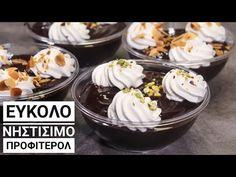 Νηστίσιμο Προφιτερόλ με Υλικά που έχουμε στο σπίτι - Cook #WithMe Vegan Chocolate Dessert - YouTube Pudding, Vegan, Desserts, Recipes, Food, Youtube, Tailgate Desserts, Deserts, Custard Pudding