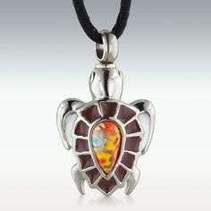 Blossoming Turtle Stainless Steel Cremation Jewelry - Engravable