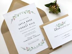 Simple Wedding Invitation Suite - Rustic Wedding Invitation With RSVP - Kraft Envelopes