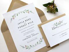 Simple Wedding Invitation Suite - Rustic Wedding Invitation With RSVP - Kraft Envelopes