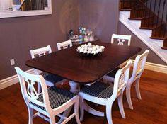 Duncan Phyfe dining table with lyre back chairs Painted Dining Room Table, Dining Room Table Chairs, Dining Room Furniture, Painted Tables, Painted Chairs, Dining Set, Dining Rooms, Duncan Phyfe Table, Dining Table Makeover