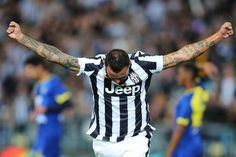 Simone Pepe of Juventus celebrates his match winning goal during the...