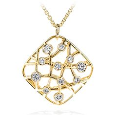With a contemporary look in a uniquely woven design, this versatile square pendant necklace is set with perfectly cut Hearts On Fire diamonds and presented on a long cable chain.