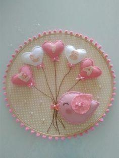 54 Ideas For Embroidery Hoop Ideas Felt Wall Decor Embroidery Hoop Crafts, Felt Embroidery, Embroidery Designs, Baby Crafts, Felt Crafts, Diy And Crafts, Felt Baby, Felt Decorations, Felt Flowers