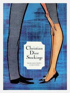Vintage Poster - Christian DIOR - Stockings - Fashion - Undergarments - Lingerie