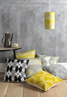 Interview With Textile Designer Sian Elin - Design Milk Large Cushions, Scatter Cushions, Scandinavian Fabric, Yellow Interior, How To Make Pillows, Home Trends, Pillow Design, Home Furnishings, Pillow Covers