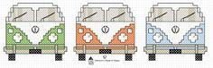 Totally groovy free cross stitch chart at hancock's house of happy: VW Van Modern Cross Stitch, Cross Stitch Designs, Cross Stitch Patterns, Cross Stitching, Cross Stitch Embroidery, Embroidery Patterns, Knitting Patterns, Vans Vw, Vw Camper Vans