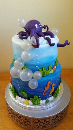 Cake by Beeter's Bakery for cakes against cancer. Gelatin bubbles, modeling chocolate octopus and sea creatures.