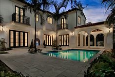 Residence in Coral Gables, FL - mediterranean - pool - miami - Torre Construction & Development Mediterranean Style Homes, Spanish Style Homes, Spanish House, Spanish Revival, Mediterranean Architecture, Spanish Architecture, Spanish Colonial, Architecture Design, Exterior House Colors