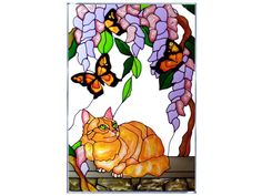 A beautiful glass panel featuring a cat admiring butterflies and flowers.
