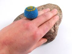 Felt Ring  Turquoise Ring  Chunky Felt Ring  by FeltYourself, zł50.00