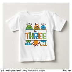 3rd Birthday Monster Tee, orange, blue and green - Alex Tebow Designs