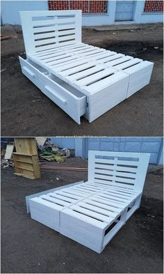 Here we have the outstanding idea of the wood pallet that is all set out in the creative designing of the bed frame with drawers formation. It is hence carried out with the simple edge crafting that t Wooden Pallet Beds, Diy Pallet Bed, Diy Pallet Projects, Pallet Ideas, Wood Ideas, Pallet Bed Frames, Bed Frame With Drawers, Small Drawers, Storage Drawers