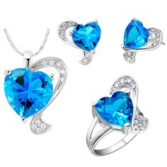Find More Jewelry Sets Information about 925 Sterling Silver Jewelry Set Rhinestone CZ Sapphire Blue Heart Necklace Earrings Rings Size 789 Birthday Bridal Jewellry T269,High Quality necklace handcuff,China earring rack Suppliers, Cheap earring clasp from ULOVE Fashion Jewelry on Aliexpress.com