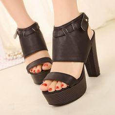 Women Platforms High Thick Heels #Shoes #Open Toe #Sandals