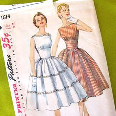 1950s Dress Pattern Simplicity 1614 Empire Bodice by SelvedgeShop, $34.00