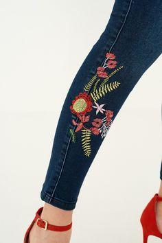 Blue Nakışlı Yüksek Bel Skinny Jean