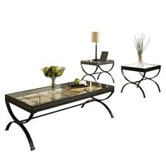 Have to have it. Steve Silver Emerson Rectangle Glass Top 3-Piece Coffee Table Set - Black - $266 @hayneedle