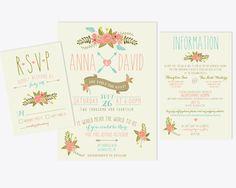 Printable Wedding Invitation Bundle // Cute Floral Invite // RSVP // Thank You Card // Fun Wedding Invitation // Arrow Wedding Invitation