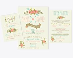 Printable Wedding Invitation Bundle // by RememberNovemberShop, $28.00