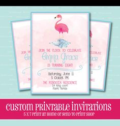 Flamingo Birthday Party Invitation by ThePeachandPineapple on Etsy