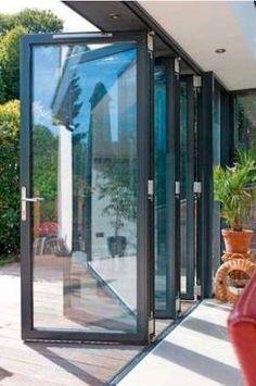 Guides to Choosing A Glass Door Design That'll Fit Your House Patio Enclosures, Enclosed Patio, Aluminium Doors, Folding Doors, Bi Fold Patio Doors, Bifold Glass Doors, Bi Fold Doors, Folding Glass Patio Doors, House Extensions
