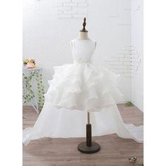102f736627d Empire Knee-length Court Train Detachable Flower Girl Dress - Organza Satin  Sleeveless Jewel With Ruffles Beading Appliques