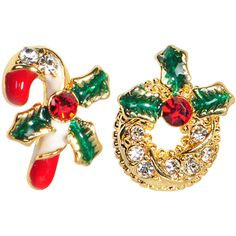 Gold Tone Gem Holiday Wreath Candy Cane Mixed Earring Set #bodycandy #earrings #christmas $9.99