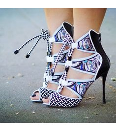 Stunning Nicholas Kirkwood x Peter Pilotto Spring 2013 Multi Print Patent Leather Lace Up Sandals ~ Thanks for the heads up Diana B!