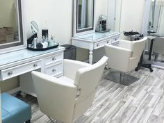 Nordic Ash pairs beautifully with the creams and blues in this salon! #Flooring #Salon #Remodel #Decor