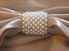 Swarovski pearls and Miyuki beige alabaster seed beads create a stunning scarf… Beaded Christmas Ornaments, Christmas Crafts, Rose Tea, Beading Projects, Swarovski Pearls, Bead Weaving, Napkin Rings, Seed Beads, Jewelery