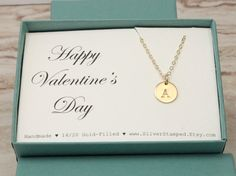 Valentine's Day gift  Gold initial necklace  gold by SilverStamped