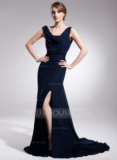 Trumpet/Mermaid Cowl Neck Court Train Chiffon Mother of the Bride Dress With Ruffle Split Front (008014558) - JJsHouse