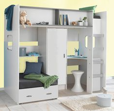 Childrens and teenagers high sleeper bed with extra Futon style bed, wardrobe and desk  £399, 203cm long x 111cm deep (upto 210cm when the 2nd bed is used) x 182cm high