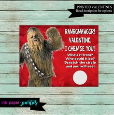 Star Wars Chewbacca Valentineu0027s Day Kids Scratch Off Cards Party Favors  Custom
