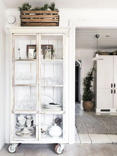 shabby chic cabinet on wheels