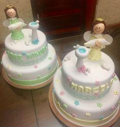 Pastel de bautizo para gemelos