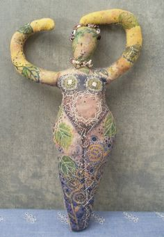 Fabric Art Doll Goddess | Hand-Painted, Embroidered & Beaded Cloth | by Resurrection Rags