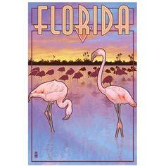 Flamingos - Florida: Retro Travel Poster by Eazl Fine Art Print, Size: 16 x 24, Multicolor