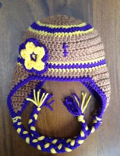 LSU Football Ear-flap Hat - (Perfect for Vikings fans too) *All Sizes!! on Etsy, $30.00