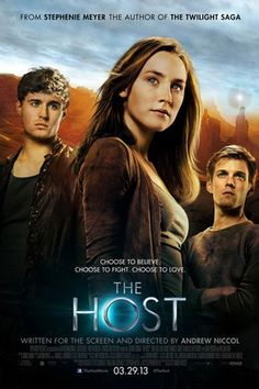 The Host is a 2013 American romantic science fiction film adapted from Stephenie Meyer's novel of the same name. Written and directed by Andrew Niccol,  the film stars Saoirse Ronan, Max Irons, Jake Abel, William Hurt, and Diane Kruger.    When an unseen enemy threatens mankind by taking over their bodies and erasing their memories, Melanie will risk everything to protect the people she cares most about, proving that love can conquer all in a dangerous new world.