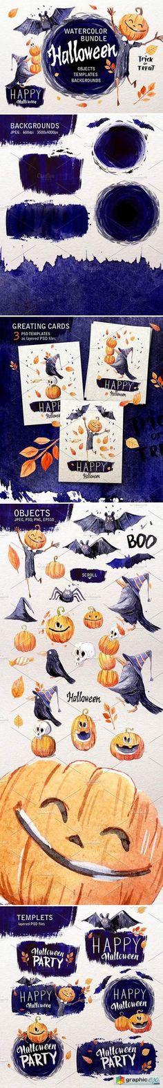 Halloween. Watercolor set  stock images