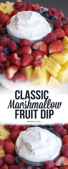 Fruit Dip - The Perfect Marshmallow Dip & Only 3 Ingredients Classic Marshmallow Fruit Dip - Classic Marshmallow Fruit Dip - Brownie Desserts, Köstliche Desserts, Delicious Desserts, Yummy Food, Tasty, Health Desserts, Dessert Dips, Fruit Dessert, Appetizer Dips