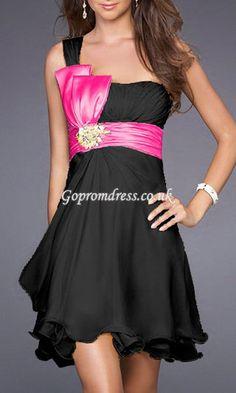 black/pink cocktail dress
