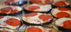 Eggplant Pepperoni Pizzas Recipe. Looking for a gluten free and low carb alternative to a traditional dough based pizza crust? You must try out eggplant pizzas!